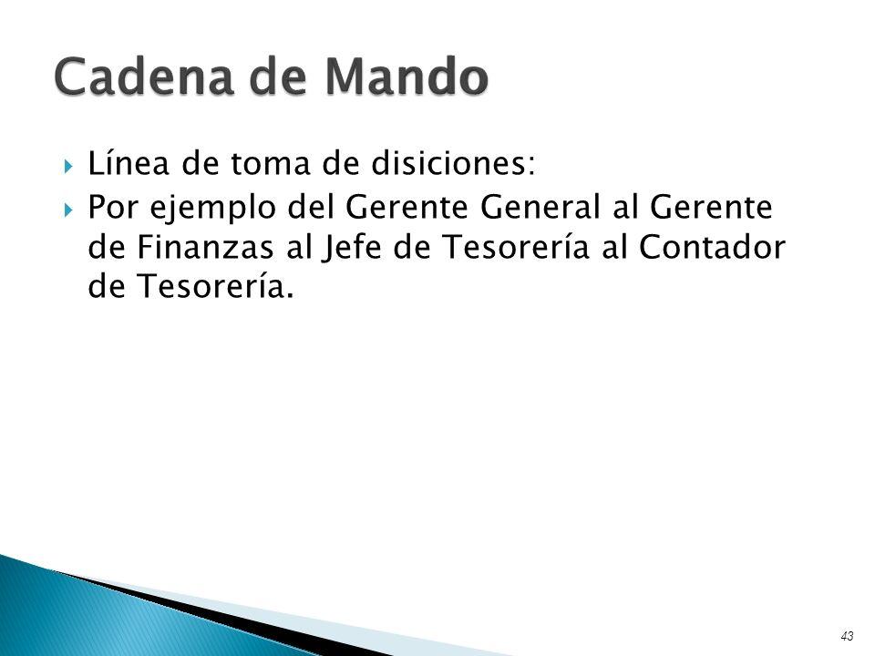 Línea de toma de disiciones: Por ejemplo del Gerente General al Gerente de Finanzas al Jefe de Tesorería al Contador de Tesorería. 43 Cadena de Mando