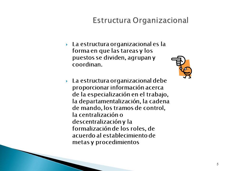 La estructura organizacional es la forma en que las tareas y los puestos se dividen, agrupan y coordinan. La estructura organizacional debe proporcion