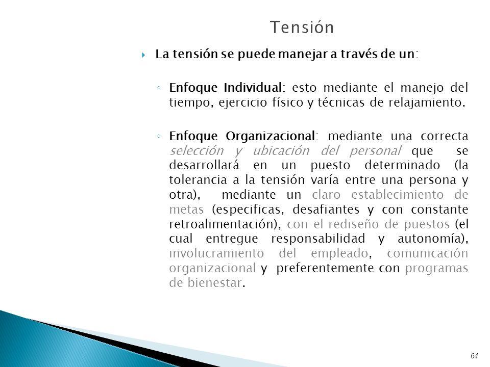 La tensión se puede manejar a través de un: Enfoque Individual: esto mediante el manejo del tiempo, ejercicio físico y técnicas de relajamiento. Enfoq