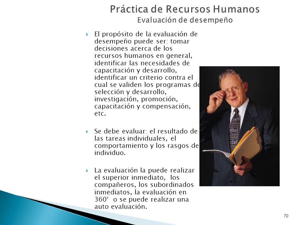 El propósito de la evaluación de desempeño puede ser: tomar decisiones acerca de los recursos humanos en general, identificar las necesidades de capac