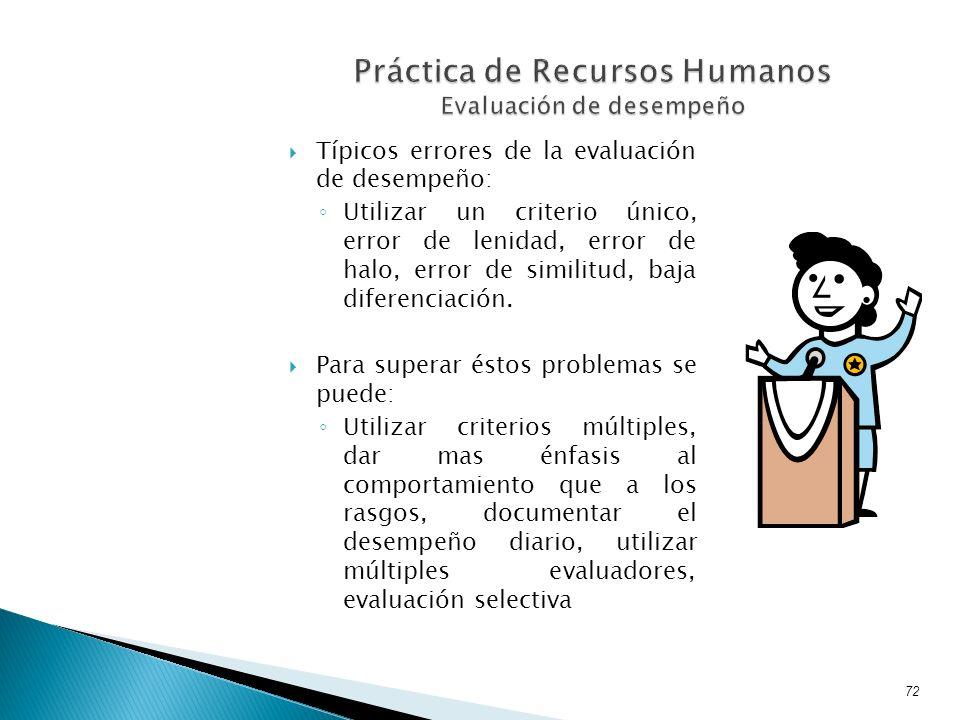 Típicos errores de la evaluación de desempeño: Utilizar un criterio único, error de lenidad, error de halo, error de similitud, baja diferenciación. P