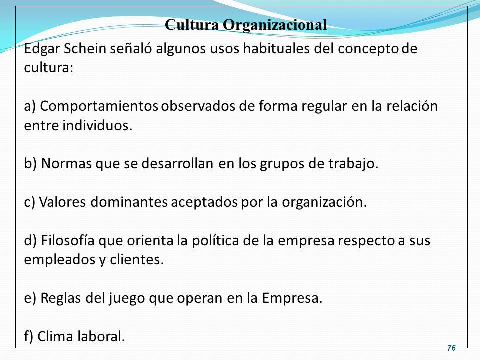 Edgar Schein señaló algunos usos habituales del concepto de cultura: a) Comportamientos observados de forma regular en la relación entre individuos. b