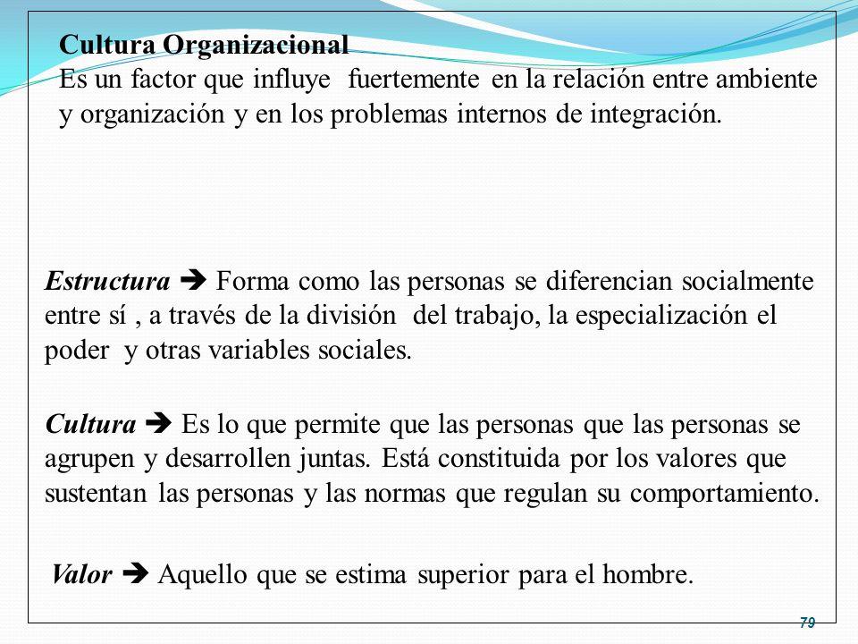 Valor Aquello que se estima superior para el hombre. Cultura Organizacional Es un factor que influye fuertemente en la relación entre ambiente y organ