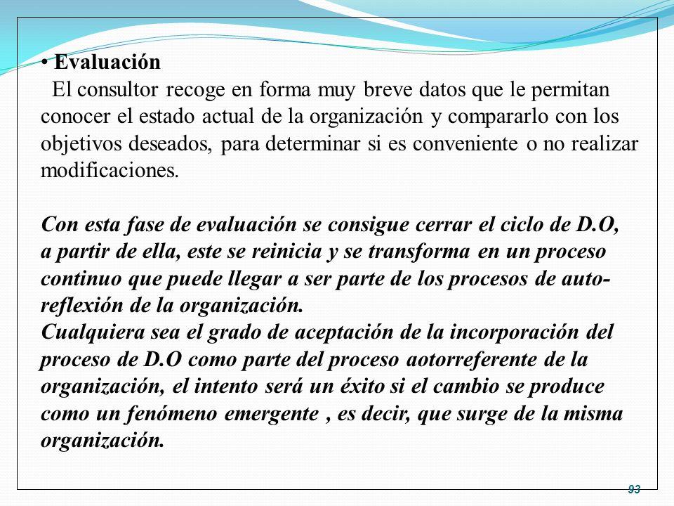 Evaluación El consultor recoge en forma muy breve datos que le permitan conocer el estado actual de la organización y compararlo con los objetivos des