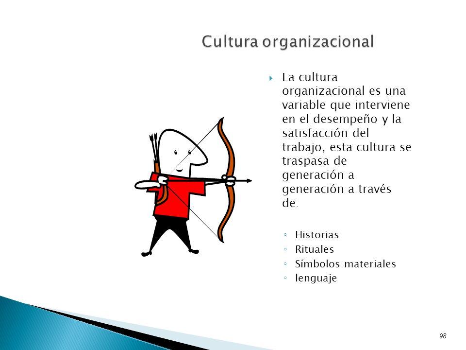 La cultura organizacional es una variable que interviene en el desempeño y la satisfacción del trabajo, esta cultura se traspasa de generación a gener