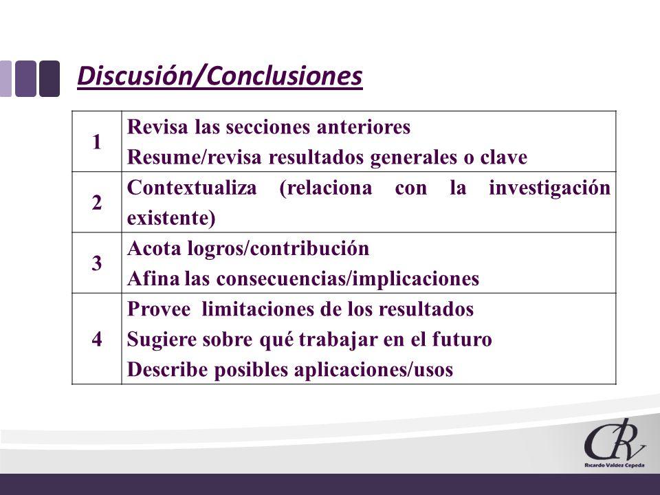 Discusión/Conclusiones 1 Revisa las secciones anteriores Resume/revisa resultados generales o clave 2 Contextualiza (relaciona con la investigación ex