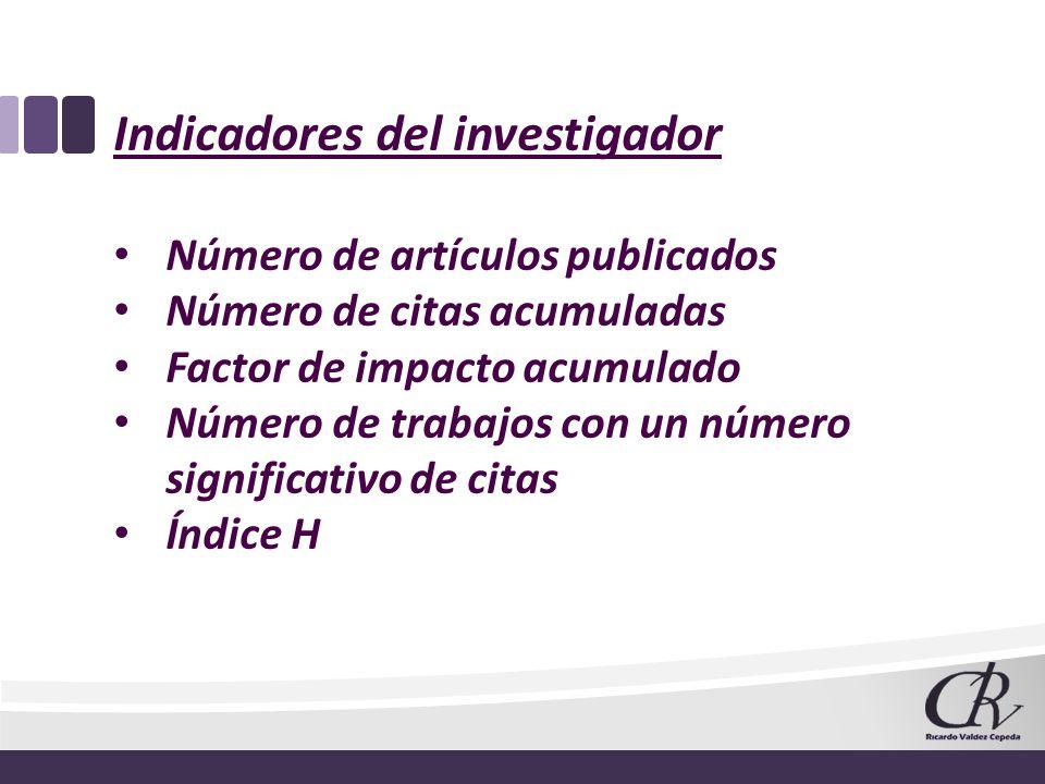 Indicadores del investigador Número de artículos publicados Número de citas acumuladas Factor de impacto acumulado Número de trabajos con un número si