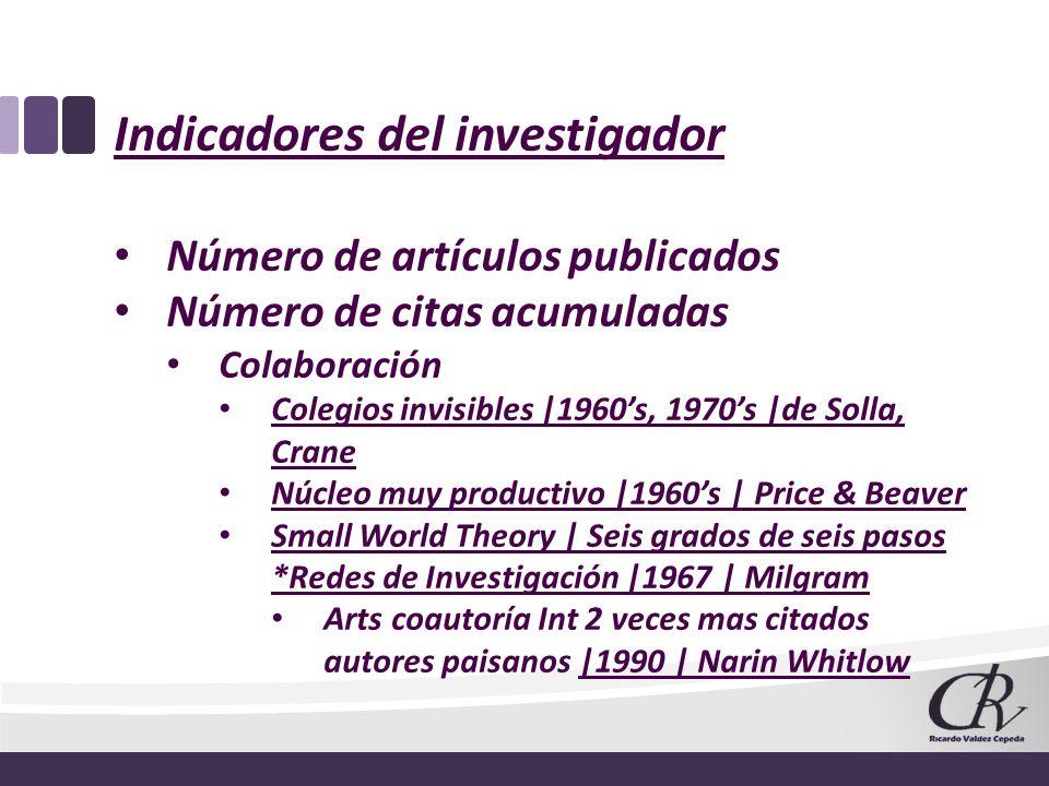 Indicadores del investigador Número de artículos publicados Número de citas acumuladas Colaboración Colegios invisibles |1960s, 1970s |de Solla, Crane