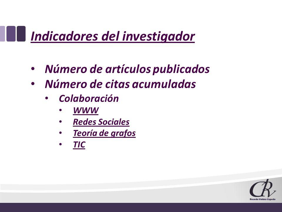Indicadores del investigador Número de artículos publicados Número de citas acumuladas Colaboración WWW Redes Sociales Teoría de grafos TIC