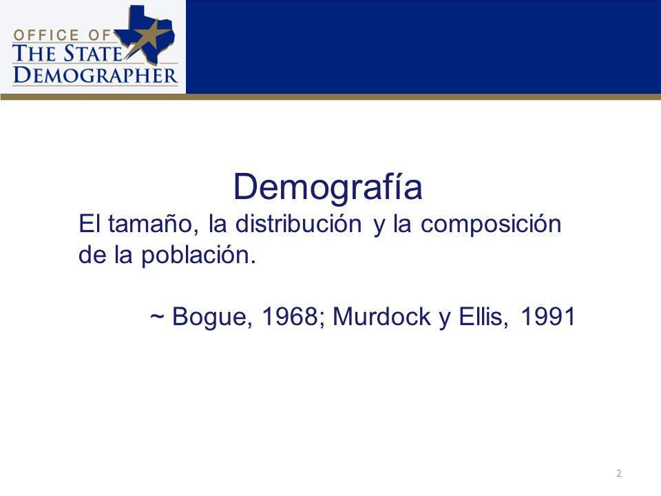 Demografía El tamaño, la distribución y la composición de la población. ~ Bogue, 1968; Murdock y Ellis, 1991 2
