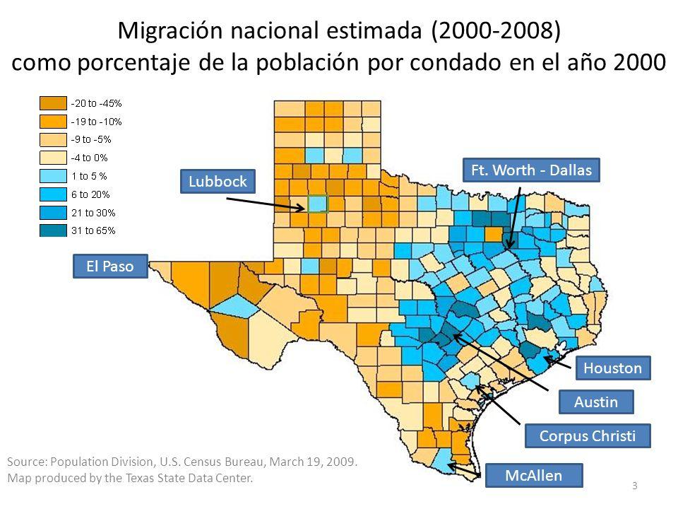 Migración nacional estimada (2000-2008) como porcentaje de la población por condado en el año 2000 Source: Population Division, U.S.