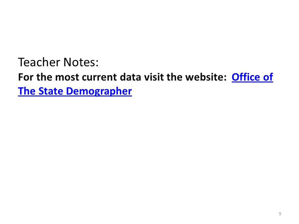 Teacher Notes: For the most current data visit the website: Office of The State DemographerOffice of The State Demographer 9