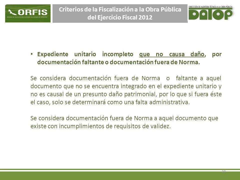 Criterios de la Fiscalización a la Obra Pública del Ejercicio Fiscal 2012 Expediente unitario incompleto que no causa daño, por documentación faltante o documentación fuera de Norma.
