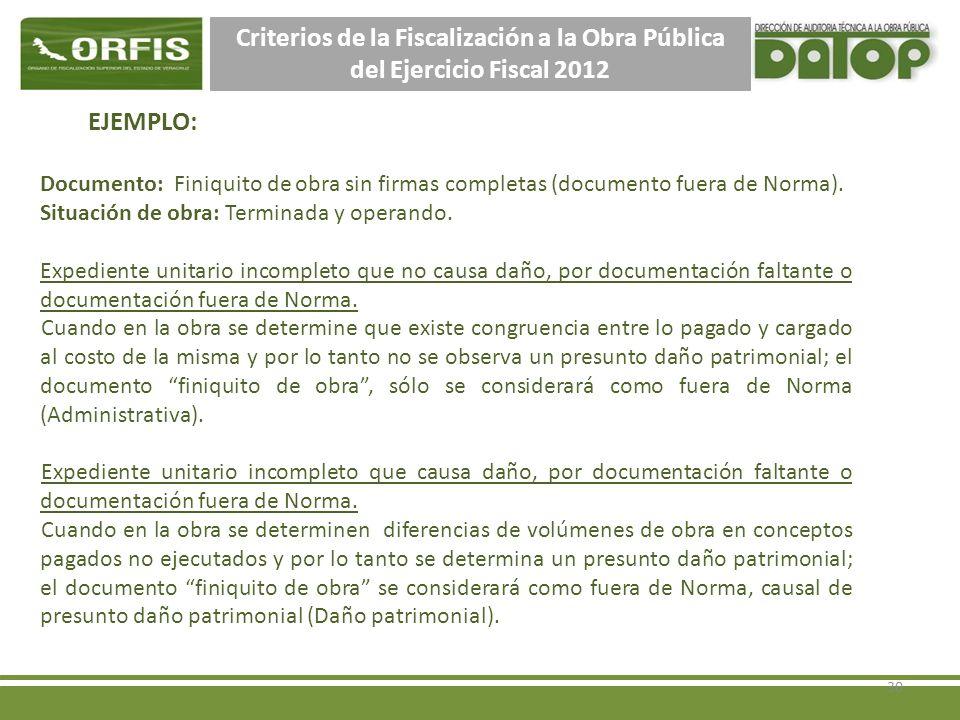 Criterios de la Fiscalización a la Obra Pública del Ejercicio Fiscal 2012 EJEMPLO: Documento: Finiquito de obra sin firmas completas (documento fuera de Norma).