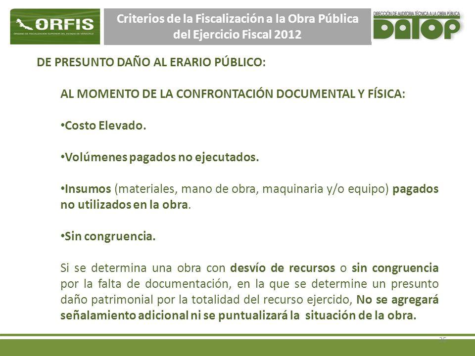Criterios de la Fiscalización a la Obra Pública del Ejercicio Fiscal 2012 DE PRESUNTO DAÑO AL ERARIO PÚBLICO: AL MOMENTO DE LA CONFRONTACIÓN DOCUMENTAL Y FÍSICA: Costo Elevado.