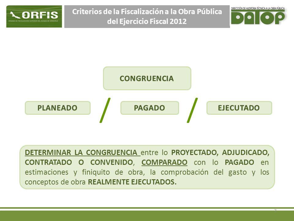Criterios de la Fiscalización a la Obra Pública del Ejercicio Fiscal 2012 38