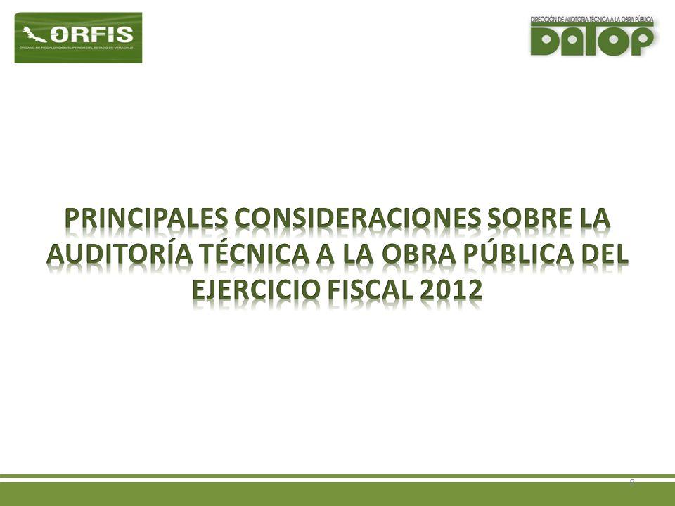 Criterios de la Fiscalización a la Obra Pública del Ejercicio Fiscal 2012 3.-Formato oficial de revisión documental vigente que serán entregados en esta reunión.