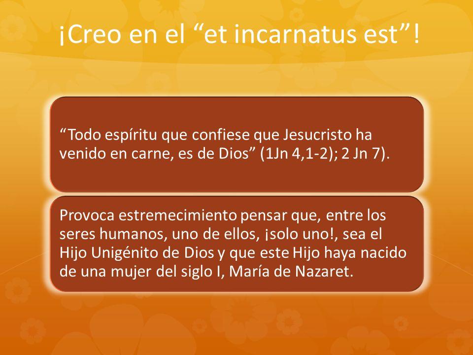 ¡Creo en el et incarnatus est! Todo espíritu que confiese que Jesucristo ha venido en carne, es de Dios (1Jn 4,1-2); 2 Jn 7). Provoca estremecimiento