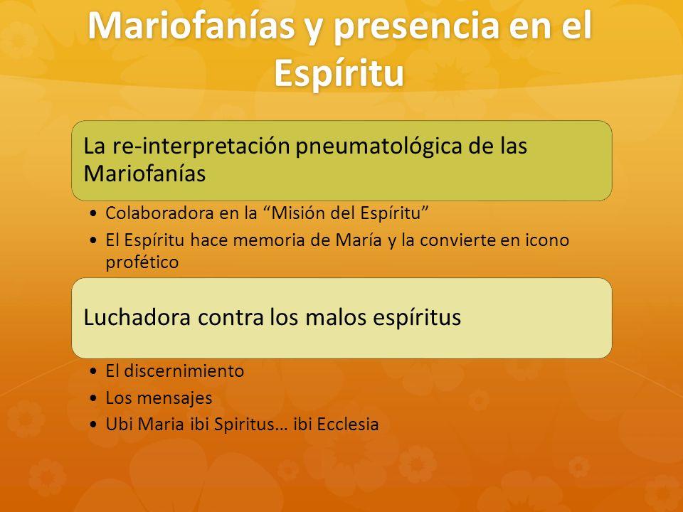 Mariofanías y presencia en el Espíritu La re-interpretación pneumatológica de las Mariofanías Colaboradora en la Misión del Espíritu El Espíritu hace