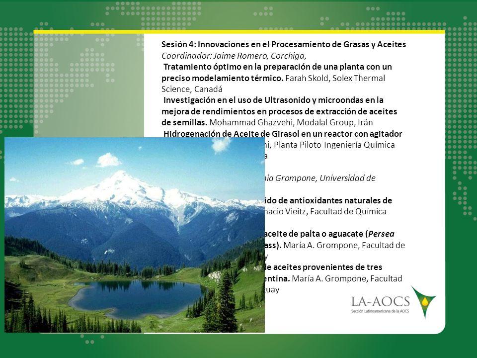 Sesión 4: Innovaciones en el Procesamiento de Grasas y Aceites Coordinador: Jaime Romero, Corchiga, Tratamiento óptimo en la preparación de una planta