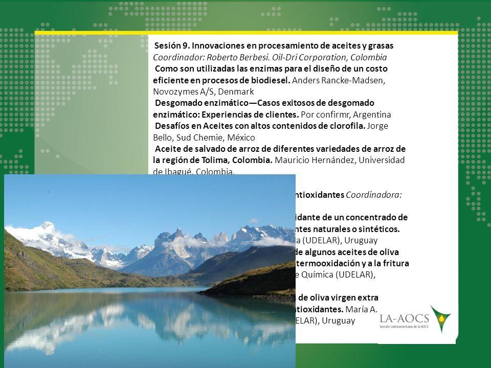 Sesión 9. Innovaciones en procesamiento de aceites y grasas Coordinador: Roberto Berbesi. Oil-Dri Corporation, Colombia Como son utilizadas las enzima