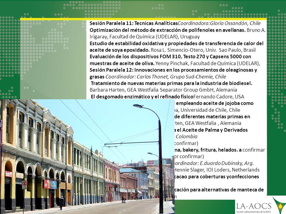 Sesión Paralela 11: Tecnicas AnalíticasCoordinadora:Gloria Ossandón, Chile Optimización del método de extracción de polifenoles en avellanas. Bruno A.