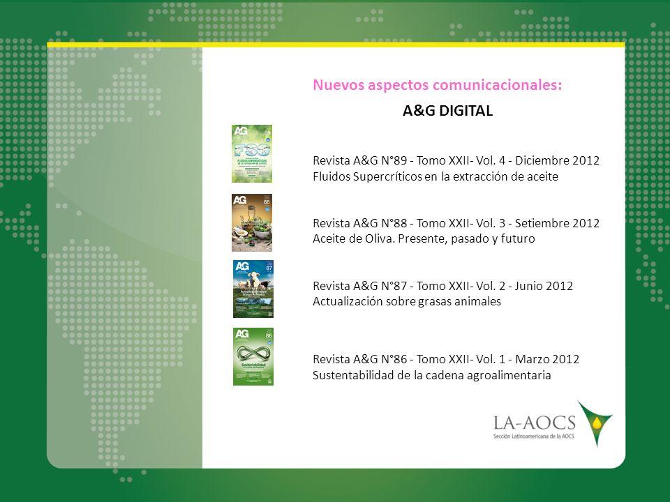 Nuevos aspectos comunicacionales: A&G DIGITAL Revista A&G N°89 - Tomo XXII- Vol. 4 - Diciembre 2012 Fluidos Supercríticos en la extracción de aceite R