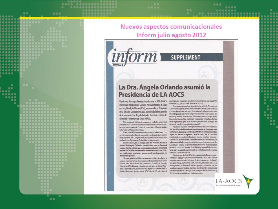 Nuevos aspectos comunicacionales Inform julio agosto 2012