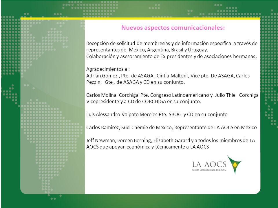Nuevos aspectos comunicacionales: Recepción de solicitud de membresías y de información específica a través de representantes de México, Argentina, Br