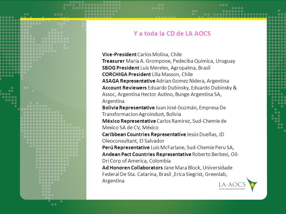 Y a toda la CD de LA AOCS Vice-President Carlos Molina, Chile Treasurer María A. Grompone, Pedeciba Quimica, Uruguay SBOG President Luis Mereles, Agro