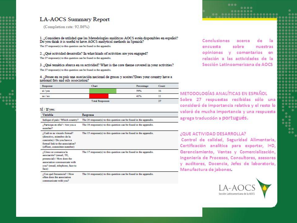 Conclusiones acerca de la encuesta sobre nuestras opiniones y comentarios en relación a las actividades de la Sección Latinoamericana de AOCS METODOLO