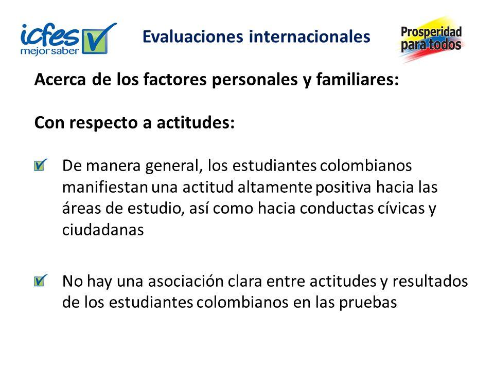 Acerca de los factores personales y familiares: Con respecto a actitudes: De manera general, los estudiantes colombianos manifiestan una actitud altamente positiva hacia las áreas de estudio, así como hacia conductas cívicas y ciudadanas No hay una asociación clara entre actitudes y resultados de los estudiantes colombianos en las pruebas Evaluaciones internacionales