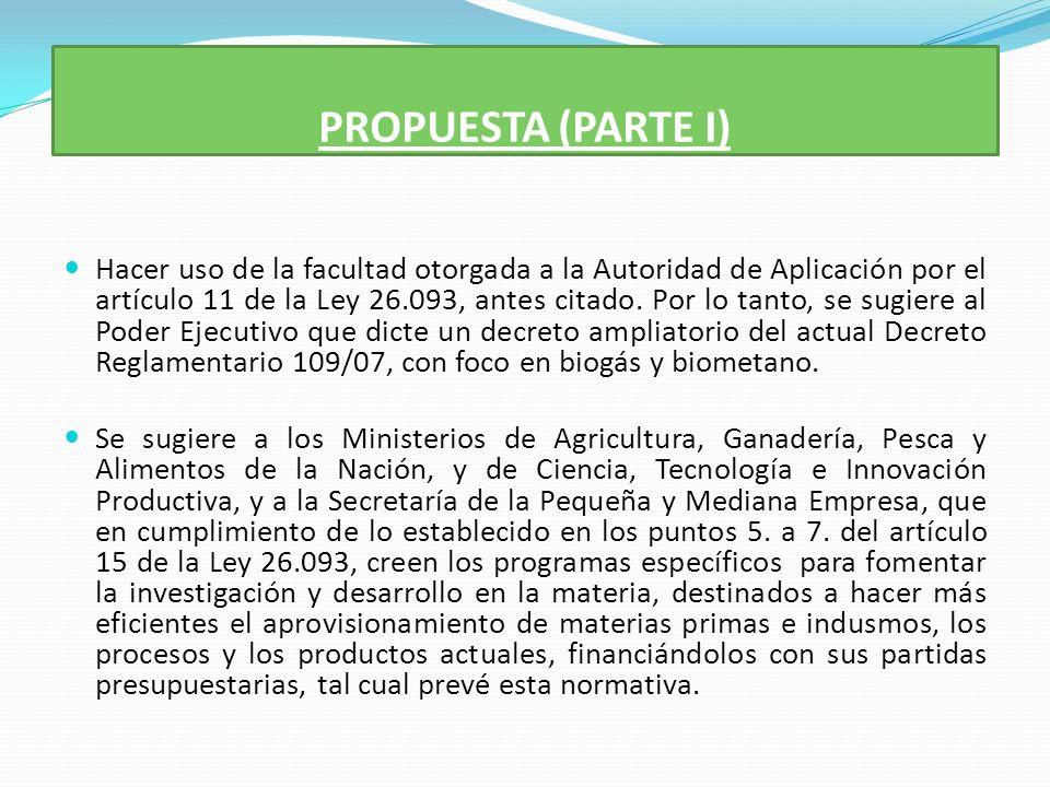 PROPUESTA (PARTE I) Hacer uso de la facultad otorgada a la Autoridad de Aplicación por el artículo 11 de la Ley 26.093, antes citado.