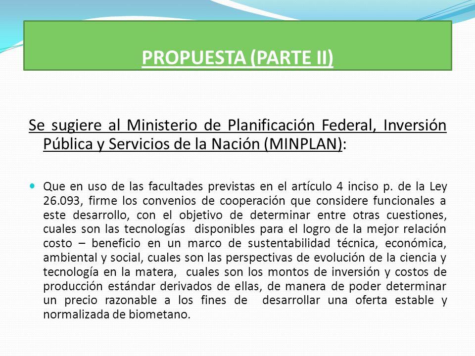 PROPUESTA (PARTE II) Se sugiere al Ministerio de Planificación Federal, Inversión Pública y Servicios de la Nación (MINPLAN): Que en uso de las facultades previstas en el artículo 4 inciso p.