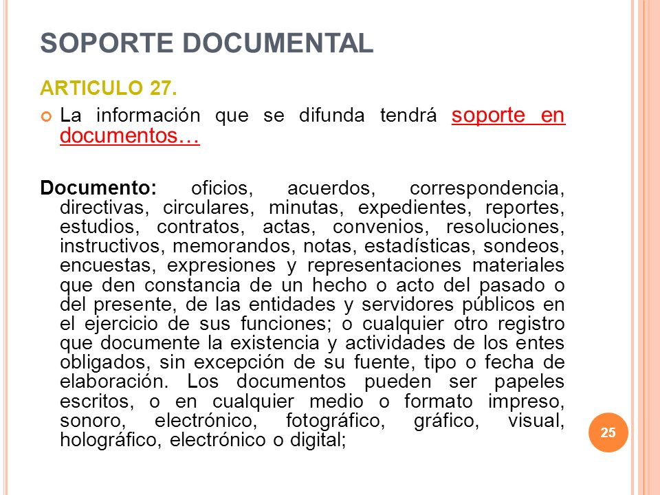 25 SOPORTE DOCUMENTAL ARTICULO 27.