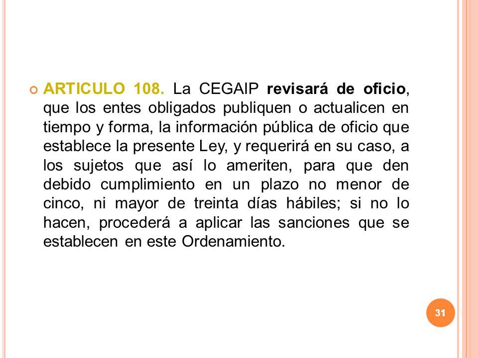 31 ARTICULO 108.