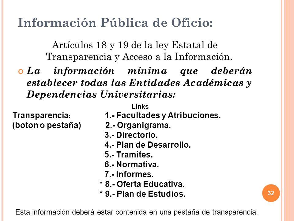 32 Información Pública de Oficio: Artículos 18 y 19 de la ley Estatal de Transparencia y Acceso a la Información.