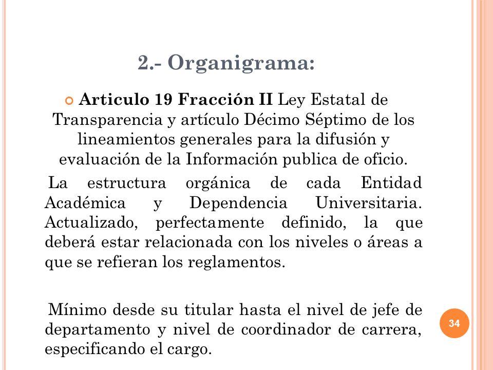 34 2.- Organigrama: Articulo 19 Fracción II Ley Estatal de Transparencia y artículo Décimo Séptimo de los lineamientos generales para la difusión y evaluación de la Información publica de oficio.