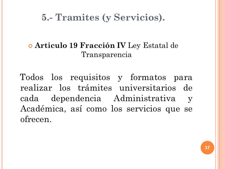 37 5.- Tramites (y Servicios).