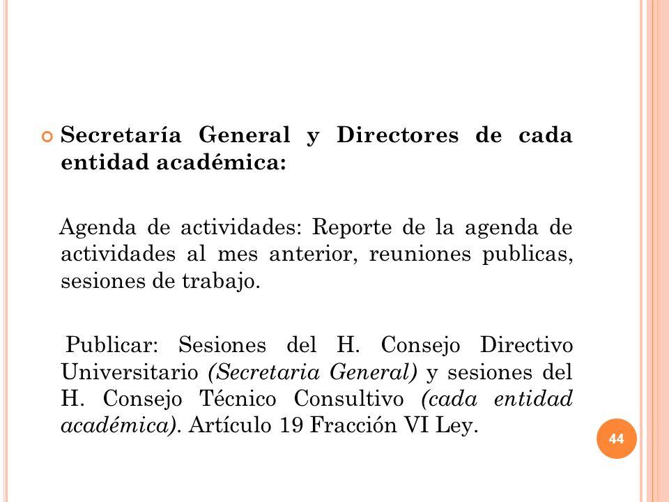 44 Secretaría General y Directores de cada entidad académica: Agenda de actividades: Reporte de la agenda de actividades al mes anterior, reuniones publicas, sesiones de trabajo.