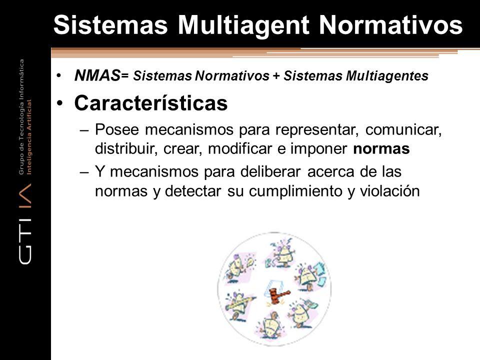 Sistemas Multiagent Normativos NMAS = Sistemas Normativos + Sistemas Multiagentes Características –Posee mecanismos para representar, comunicar, distribuir, crear, modificar e imponer normas –Y mecanismos para deliberar acerca de las normas y detectar su cumplimiento y violación