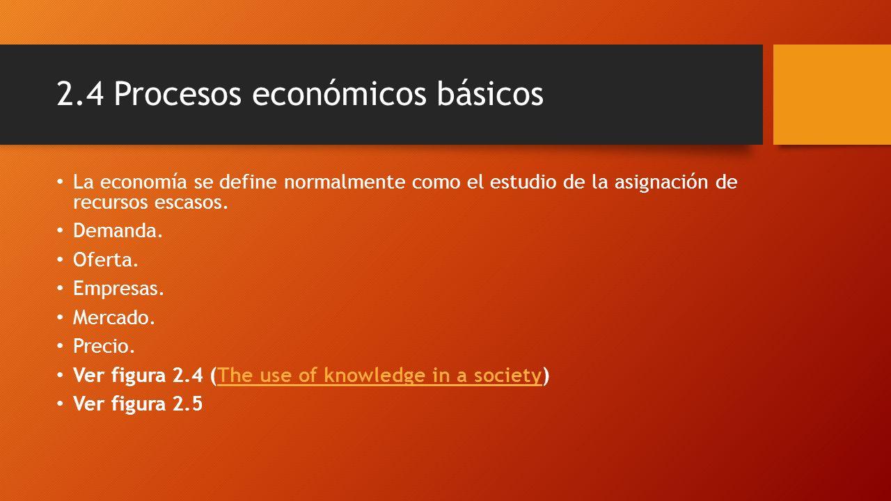 2.4 Procesos económicos básicos La economía se define normalmente como el estudio de la asignación de recursos escasos. Demanda. Oferta. Empresas. Mer