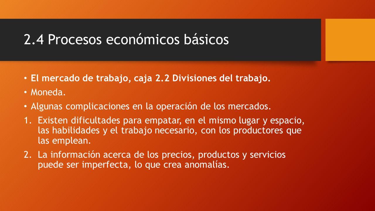 2.4 Procesos económicos básicos El mercado de trabajo, caja 2.2 Divisiones del trabajo. Moneda. Algunas complicaciones en la operación de los mercados