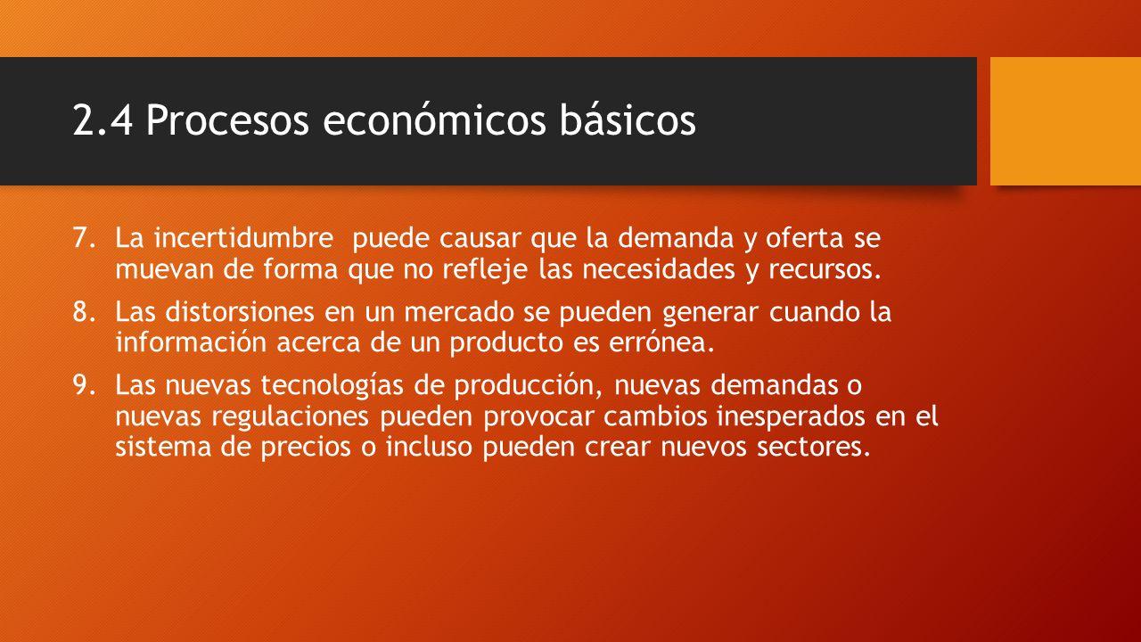 2.4 Procesos económicos básicos 7.La incertidumbre puede causar que la demanda y oferta se muevan de forma que no refleje las necesidades y recursos.