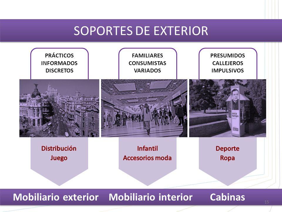 PRESUMIDOS CALLEJEROS IMPULSIVOS FAMILIARES CONSUMISTAS VARIADOS PRÁCTICOS INFORMADOS DISCRETOS SOPORTES DE EXTERIOR Mobiliario exterior Mobiliario interior Cabinas 15