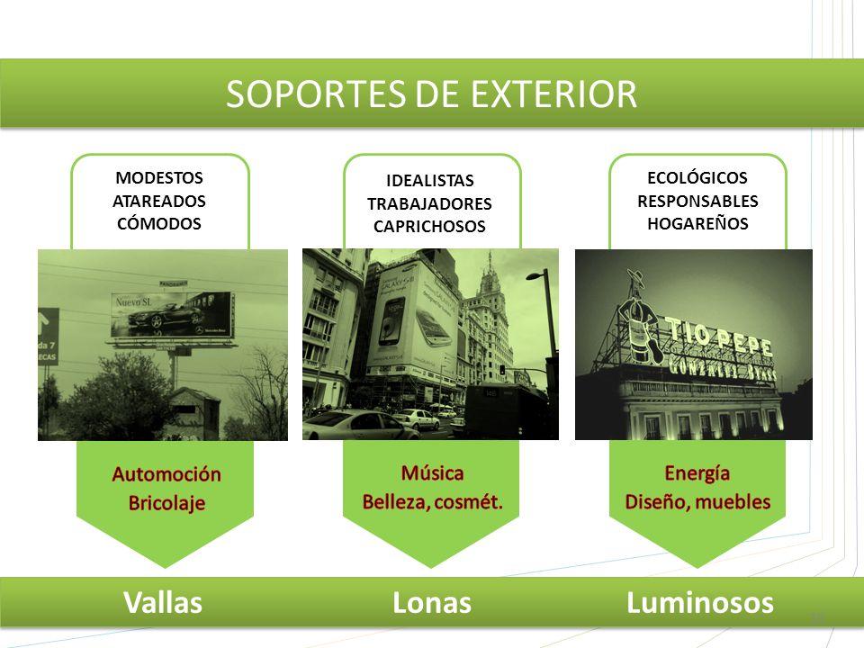MODESTOS ATAREADOS CÓMODOS SOPORTES DE EXTERIOR Vallas Lonas Luminosos ECOLÓGICOS RESPONSABLES HOGAREÑOS IDEALISTAS TRABAJADORES CAPRICHOSOS 16