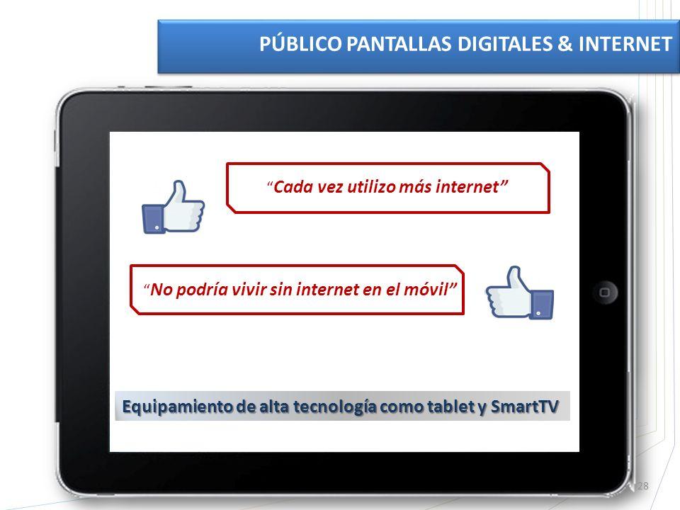 28 PÚBLICO PANTALLAS DIGITALES & INTERNET Cada vez utilizo más internet No podría vivir sin internet en el móvil Equipamiento de alta tecnología como tablet y SmartTV