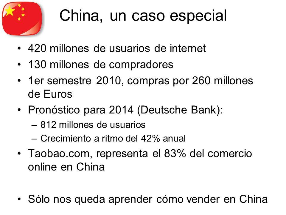 China, un caso especial 420 millones de usuarios de internet 130 millones de compradores 1er semestre 2010, compras por 260 millones de Euros Pronóstico para 2014 (Deutsche Bank): –812 millones de usuarios –Crecimiento a ritmo del 42% anual Taobao.com, representa el 83% del comercio online en China Sólo nos queda aprender cómo vender en China