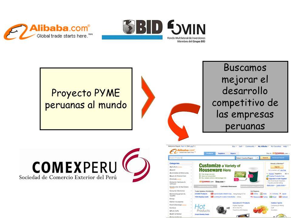 Buscamos mejorar el desarrollo competitivo de las empresas peruanas Proyecto PYME peruanas al mundo