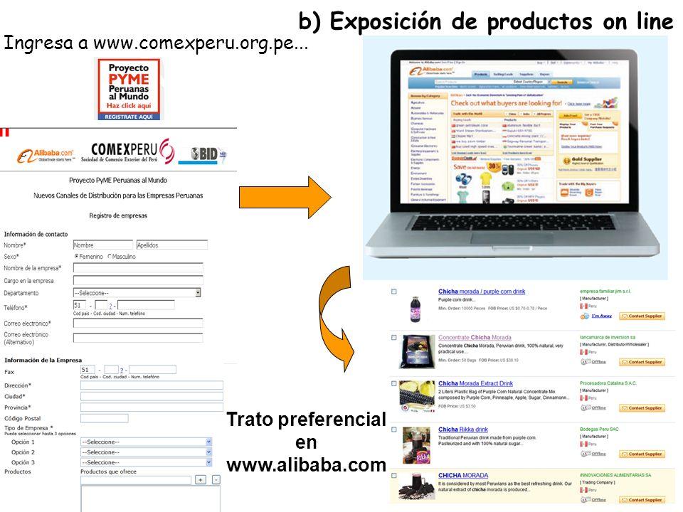 b) Exposición de productos on line Ingresa a www.comexperu.org.pe...